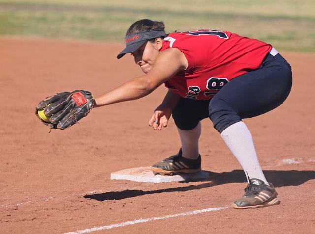 Coronado's Jillian James makes a catch for an out at first base during a softball game against Rancho at Coronado High School Wednesday, April 8, 2015, in Henderson. Coronado won 3-2. (Ronda Churc ...