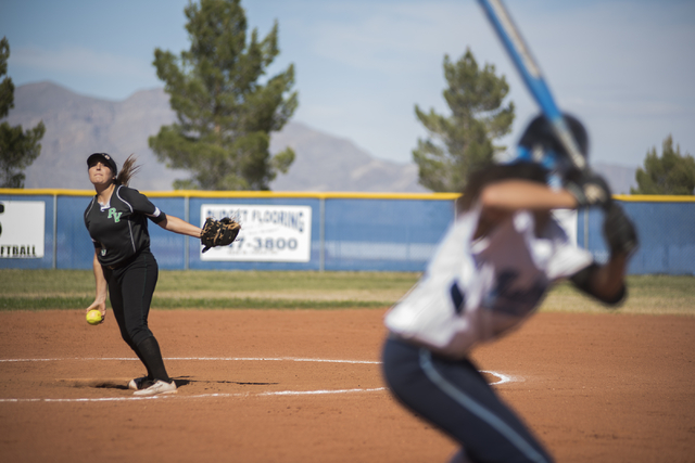 Palo Verde High School's Haylee Lupinetti (24) pitches to Centennial High School batter during their softball game played at Centennial's softball field in Las Vegas on Friday, April 17, 2015. (Ma ...