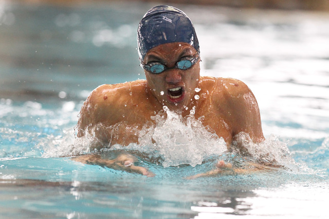 Legacy swimmer Isiah Magsino swims the breaststroke leg of the 200-yard individual medley during a meet Saturday, April 25, 2015. (Sam Morris/Las Vegas Review-Journal) Follow Sam Morris on Twitter ...