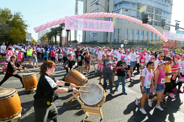 Las Vegas Kaminari Taiko drummers play at the starting line of the 19th annual Komen Southern Nevada Race for the Cure at Las Vegas Boulevard and Clark Avenue Saturday, May 3, 2014, in Las Vegas.  ...