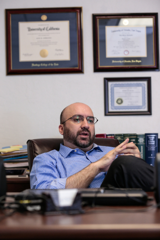 Lawyer Alex Ghibaudo pauses during an interview about having his license reinstated. Ghibuado spoke at Schwab Law Group, 2800 W. Sahara Ave., Suite 1H, Las Vegas, Wednesday, Feb. 18, 2015. (Donavo ...
