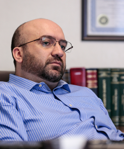Lawyer Alex Ghibaudo pauses during an interview in his office at Schwab Law Group, 2800 W. Sahara Ave., Suite 1H, Las Vegas, Wednesday, Feb. 18, 2015. (Donavon Lockett/Las Vegas Review-Journal)