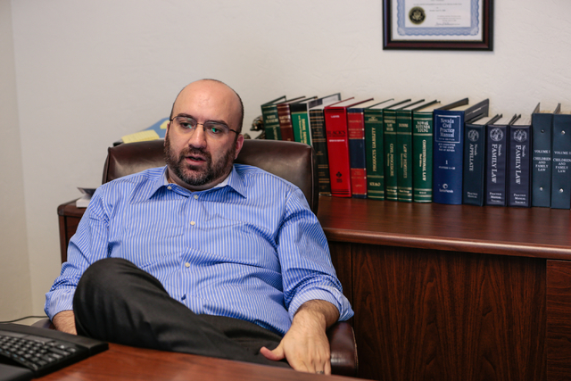 Lawyer Alex Ghibaudo pauses during an interview in his office at the Schwab Law Group, 2800 W. Sahara Ave., Suite 1H, Las Vegas, Wednesday, Feb. 18, 2015. (Donavon Lockett/Las Vegas Review-Journal)