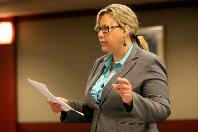 Representing the Las Vegas Review-Journal, attorney Maggie McLetchie disputes reasons why the Review-Journal should be denied access to public records by the district attorney's office before Judg ...