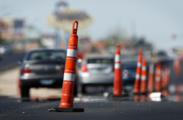 Heat rising from the pavement distorts the images of cars as they drive through road construction along Boulder HIghway in Las Vegas Tuesday, Oct. 5, 2010. (JOHN LOCHER/LAS VEGAS REVIEW-JOURNAL)
