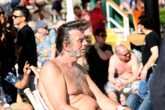 Andy Munday of London enjoys the afternoon sun and music at the Viva Las Vegas Rockabilly Weekend Pool Party at the Orleans hotel-casino on Friday, April 3, 2015. (Michael Quine/Las Vegas Review-J ...