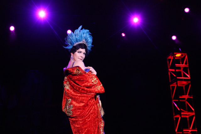 Bonnie Fox bares a shoulder to the crowd at the Viva Las Vegas Rockabilly Weekend Burlesque Showcase at the Orleans hotel-casino on Friday, April 3, 2015. (Michael Quine/Las Vegas Review-Journal)  ...