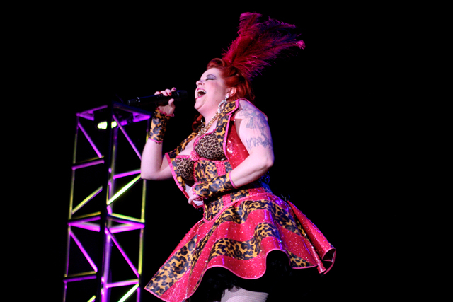 """Burlesque Showcase hostess, Cora Vette, belts out """"I Just Want To Make Love To You"""" at the Viva Las Vegas Rockabilly Weekend Burlesque Showcase at the Orleans hotel-casino on Friday, Apr ..."""