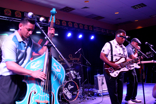 The Frantic Rockers from Los Angeles pumps out some dirty blues in the Bienville Rhythm Bomb Showcase at the Viva Las Vegas Rockabilly Weekend in the Orleans hotel-casino on Friday, April 3, 2015. ...