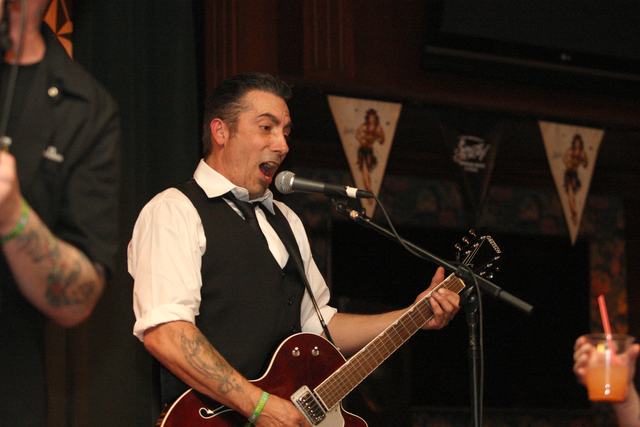 D.C. Wheeler, of Hot Rod Romeos from Seattle, cranks it up in Brendan's Pub at the Viva Las Vegas Rockabilly Weekend in the Orleans hotel-casino on Saturday, April 4, 2015. (Michael Quine/Las Vega ...