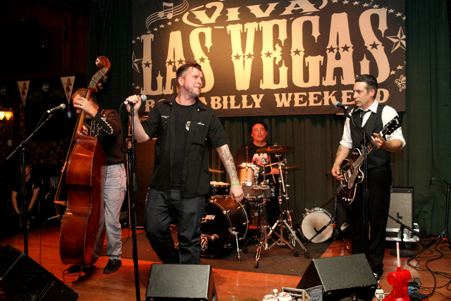 Billy Burns, left, Johnny Rocket, Dave Warburton and D.C. Wheeler of Hot Rod Romeos, Seattle's sleaziest rock-n-roll band, shakes the rafters in Brendan's Pub at the Viva Las Vegas Rockabilly Week ...