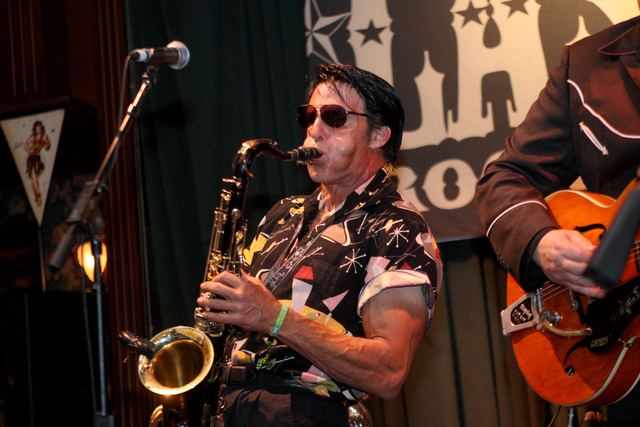 Gary Sax blasts out a solo in Brendan's Pub at the Viva Las Vegas Rockabilly Weekend in the Orleans hotel-casino on Saturday, April 4, 2015. (Michael Quine/Las Vegas Review-Journal) Follow Michael ...