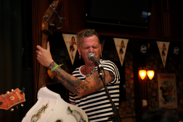 Brad Hayman from Australia, belts out vocals with The Buzzards in Brendan's Pub at the Viva Las Vegas Rockabilly Weekend in the Orleans hotel-casino on Saturday, April 4, 2015. (Michael Quine/Las  ...