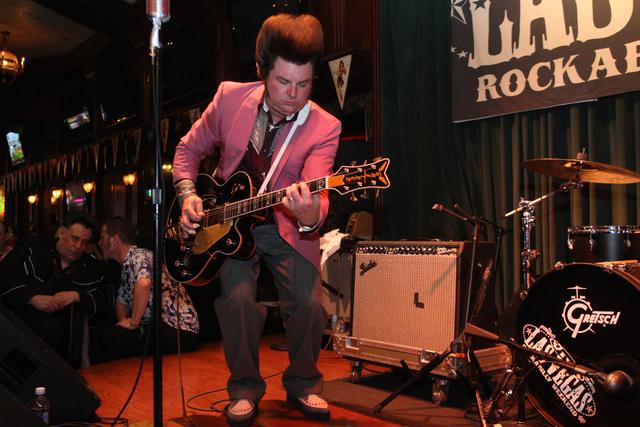 Carl Schreiber of the Cadillac Casanovas keeps it rocking in Brendan's Pub at the Viva Las Vegas Rockabilly Weekend in the Orleans hotel-casino on Saturday, April 4, 2015. (Michael Quine/Las Vegas ...
