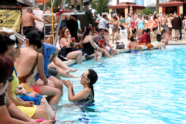 Rockabilly Weekender attendees flocked to poolside at the Viva Las Vegas Rockabilly Weekend Pool Party at the Orleans hotel-casino on Sunday, April 5, 2015. (Michael Quine/Las Vegas Review-Journal ...