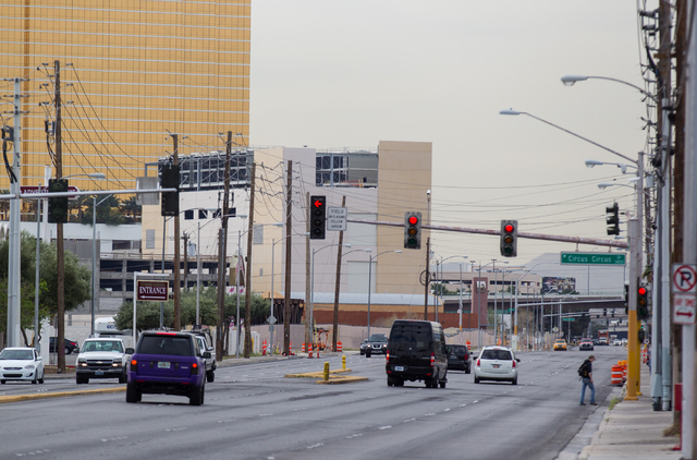 The intersection of Industrial Road and Circus Circus Drive is seen in Las Vegas on Tuesday, March 17, 2015. Cassandra Rosete was found dead on Nov. 22 on the sidewalk of the 2600 block of Industr ...