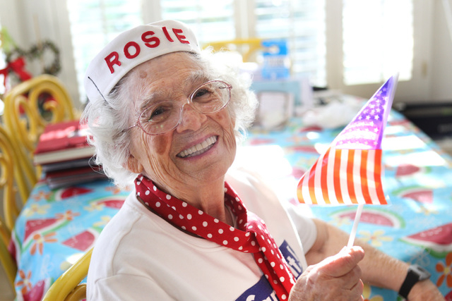 Summerlin-area resident Carmella Wood, 92, who worked as a Rosie the Riveter on Chance Vought Corsair bombers during World War II, is seen in her northwest home April 8, 2015. (Sam Morris/View) (F ...
