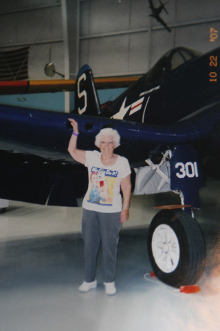 Carmella Wood stands in front of a plane in this undated photo. (Special to View)