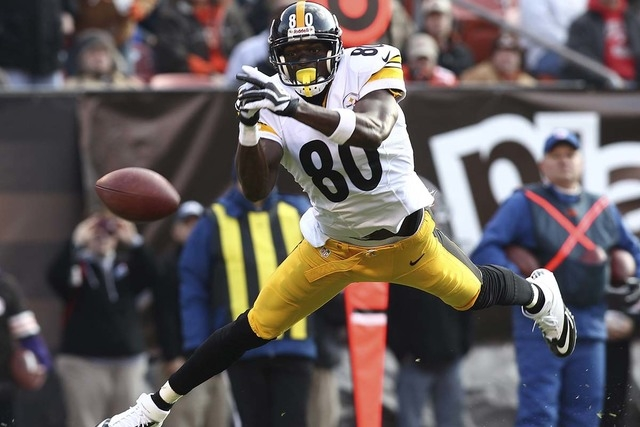 Pittsburgh Steelers' Plaxico Burress is unable to make a catch during the second quarter of their NFL football game against the Cleveland Browns in Cleveland, Ohio November 25, 2012. (REUTERS/Aaro ...