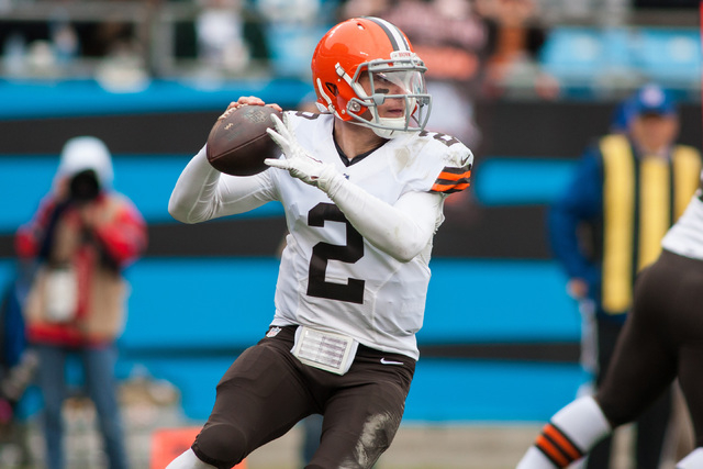 Dec 21, 2014; Charlotte, NC, USA;  Cleveland Browns quarterback Johnny Manziel (2) prepares to throw the ball during the second quarter against the Carolina Panthers at Bank of America Stadium. (J ...