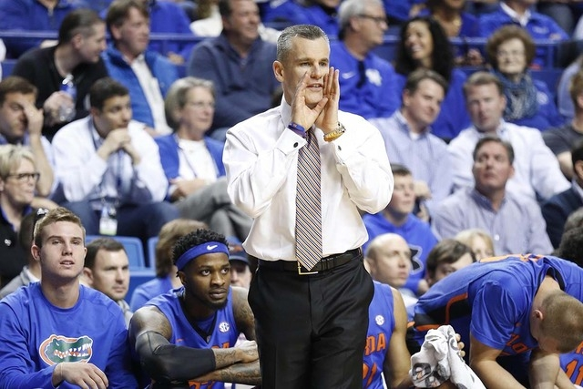 Mar 7, 2015; Lexington, KY, USA; Florida Gators head coach Billy Donovan coaches his players during the game against the Kentucky Wildcats in the first half at Rupp Arena. (Mark Zerof-USA TODAY Sp ...