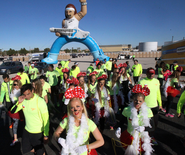 A group of runners from Chili arrives for the Las Vegas Rock 'n' Roll Marathon and half marathon on the Strip on Sunday, Nov. 16, 2014. (K.M. Cannon/Las Vegas Review-Journal)