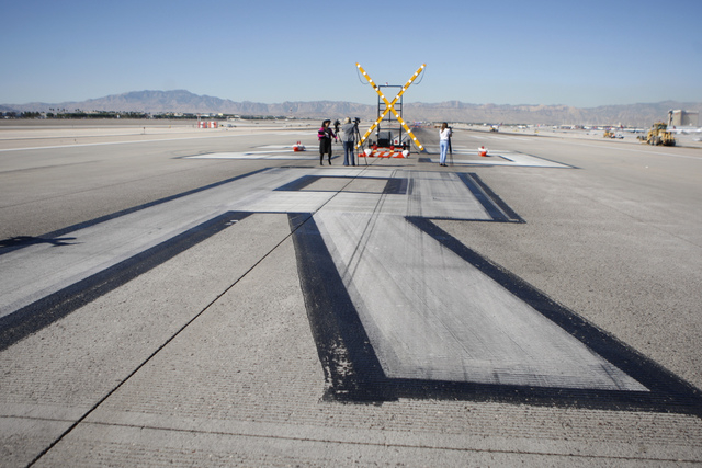 The east west runway at McCarran International Airport in Las Vegas is seen during a tour Wednesday, Oct. 29, 2014. The east west runway at the airport begun the first phase of a $67 million renov ...