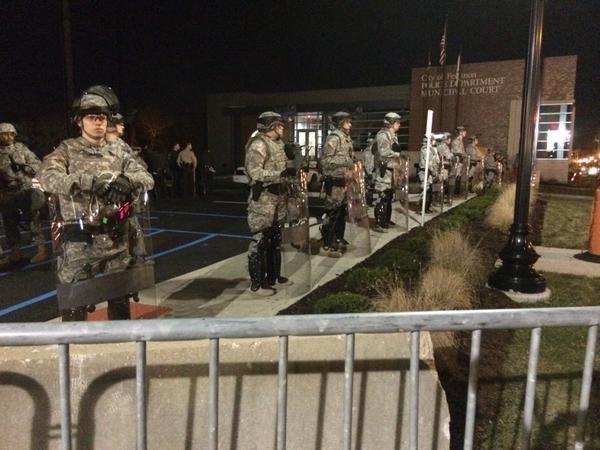 National Guard troops outside of the Ferguson Police Department on Nov. 25. (Ed Lavandera/CNN)