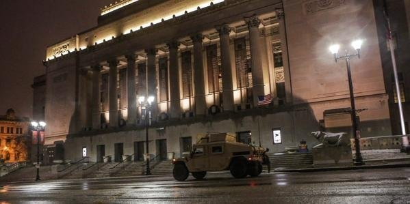 The Peabody Opera House in St. Louis is guarded by the Missouri National Guard on Nov. 26. (Lawrence Bryant/St. Louis American)