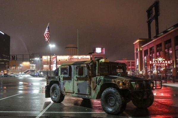 Busch Stadium in St. Louis is guarded by the Missouri National Guard on Nov. 26. (Lawrence Bryant/St. Louis American)