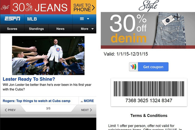 Ads can be saved as digital coupons to Apple Passbook or Google Wallet. They can also be used for in-store purchases. (CNN)