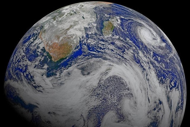 Happy Earth Day! This composite image of southern Africa and the surrounding oceans was captured by NASA on April 9, 2015.