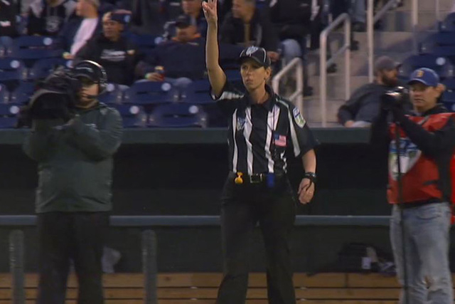 The NFL has hired its first female official, Sarah Thomas, in a ground-breaking move, according to the Baltimore Sun. (Screengrab/ESPN)