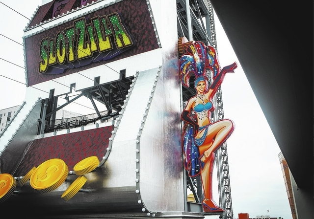 SlotZilla on Fremont Street as seen on Friday, April 18, 2014. The $11.5 attraction will have four zip lines with the longest extending 1,700 feet. The slot machine designed hipline is scheduled t ...