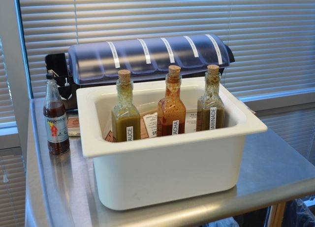 A sample station with hot sauces and dips can be found at The Spice Outlet. (Ginger Meurer/Special to View)