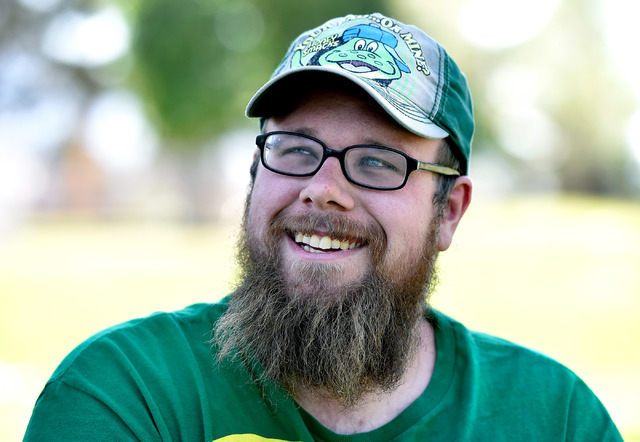 Cody Kennedy smiles during an interview at Sunset Park on Monday, April 20, 2015, in Las Vegas. Kennedy's pet capybara, JoeJoe, has taken on a celebrity status with more than 60,000 followers on s ...