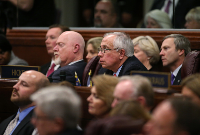 From left rear, Republican lawmakers Sen. Ben Kieckhefer, Assemblymen Randy Kirner and Pat Hickey, and Sen. Greg Brower, listen as Gov. Brian Sandoval delivers his State of the State address at th ...