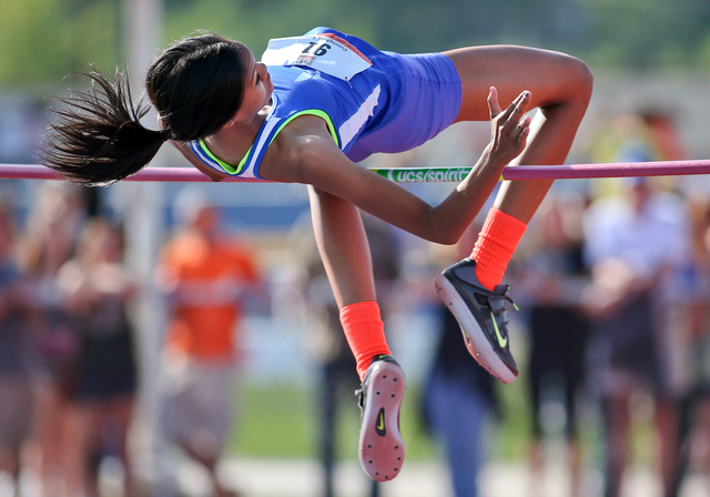 Bishop Gorman's Vashti Cunningham cleared 6 feet, 1 inch to win the Division I girls high jump at the state track meet on Friday. (Cathleen Allison/Las Vegas Review-Journal)