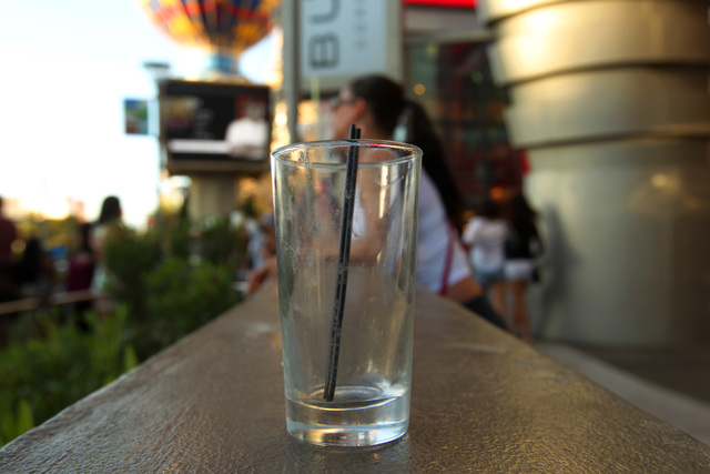 An abandoned cocktail glass is seen outside Planet Hollywood on the Strip, Saturday, April 4, 2014. (Sam Morris/Las Vegas Review-Journal) Follow Sam Morris on Twitter @sammorrisRJ