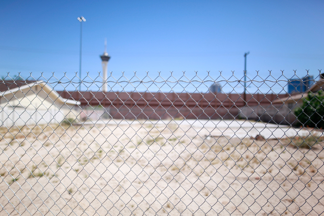 A lot where a home once stood is seen on Loch Lomond Way in Las Vegas on Monday, April 13, 2015. Homes on the east side of the street abut Interstate 15, which would be widened as part of the $1.5 ...