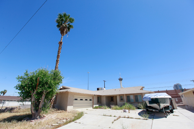 A home on Loch Lomond Way is seen in Las Vegas on Monday, April 13, 2015. Homes on the east side of the street abut Interstate 15, which would be widened as part of the $1.5 billion Project Neon.  ...