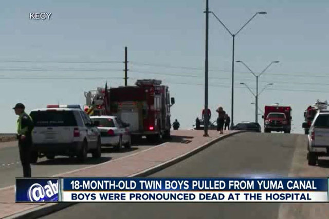 Twin toddler boys drowned after their mother tried to fend off a bee and let go of their stroller, which rolled into a canal in Yuma, Arizona. (Screengrab/KNXV)