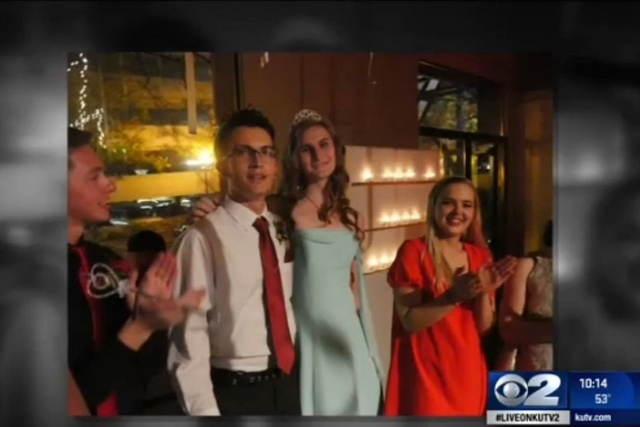 The title was a first for the Salt Lake School for Performing Arts, and Maka could be the first transgender prom queen in the entire state. (Screengrab, KUTV)