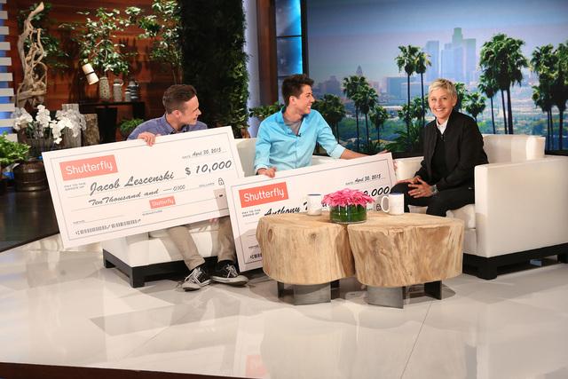 "Jacob Lescenski, left, and Anthony Martinez appear on Thursday's episode of ""The Ellen DeGeneres Show."" (Michael Rozman/Warner Bros.)"
