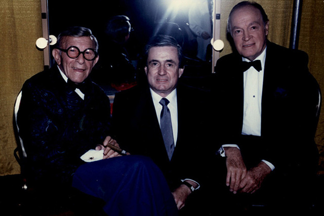 Sam Distefano, center, is pictured with George Burns and Bob Hope in this undated photo. (Courtesy Mike Distefano)