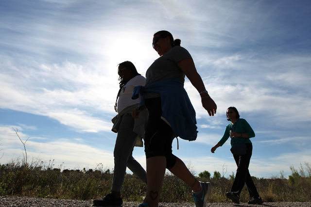 People participate during the University Medical Center and Springs Preserve sponsored event Walk with a Doc program at the Springs Preserve on Thursday, March 19, 2015. (Erik Verduzco/Las Vegas R ...