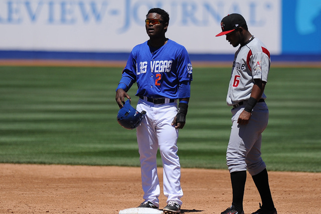 Las Vegas 51s base runner Dilson Herrera is seen at second base during the third inning of their Triple-A baseball game against the Albuquerque Isotopes at Cashman Field in Las Vegas Tuesday, Apri ...