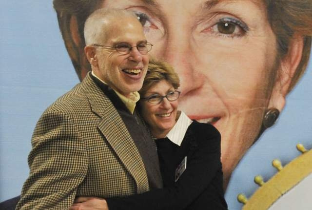 Chris Giunchigliani and her husband, Gary Gray, pose for a photo at Giunchigliani's campaign headquarters on Saturday, Feb. 26, 2011.  (MARK DAMON/LAS VEGAS REVIEW-JOURNAL)