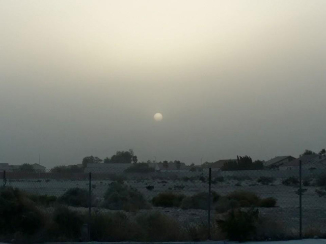 The sun seen through the wind and dust in Las Vegas on Tuesday. (Courtesy Moises Gomez/At The Scene)