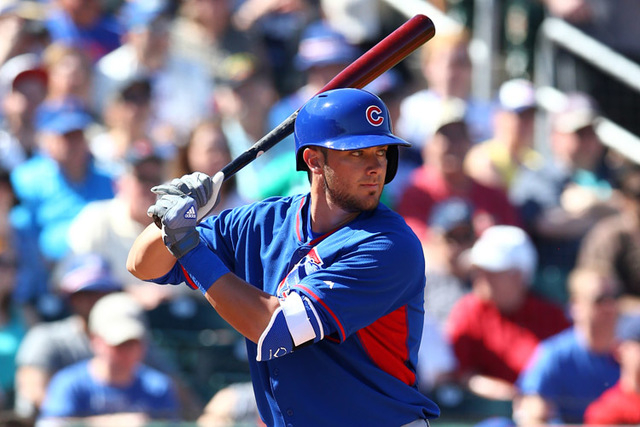 Mar 10, 2015; Goodyear, AZ, USA; Chicago Cubs third baseman Kris Bryant bats in the fourth inning against the Cleveland Indians during a spring training baseball game at Goodyear Ballpark. (Mark J ...